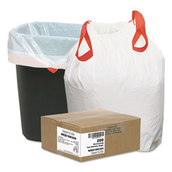 Webster White Drawstring Trash Bags, 13 Gallon, 0.9 Mil, Box of 200