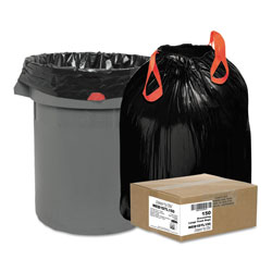 Webster Black Drawstring Trash Bags, 33 Gallon, 1.2 Mil, Case of 150
