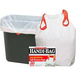 "Webster White Drawstring Trash Bags, 13 Gallon, 0.7 Mil, 24"" X 27"", Box of 50"
