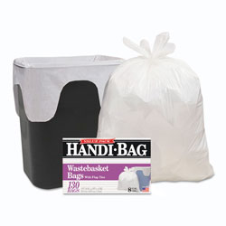 Webster Handi-Bag Super Value Pack, 8gal, 0.6mil, 22 x 24, White, 130/Box, 6 Box/Carton