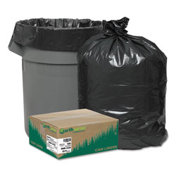 "Webster Webster Reclaim Black Flat-Bottom Trash Bags, 56 Gallon, 2 Mil, 43"" X 47"", Case of 100"