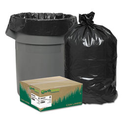 Webster Webster Reclaim Black Trash Bags, 45 Gallon, Extra Heavy, Case of 100