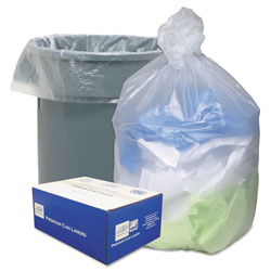 Webster Webster Ultra Plus Clear Flat-Bottom Trash Bags, 60 Gallon, 14 Micron, Pack of 200