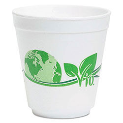 Wincup Vio Biodegradable Food Containers, 16 oz Bowl, Foam, White/Green, 500/Carton