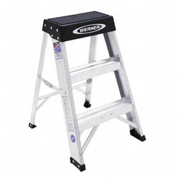 "Werner Mighty Lite Step Stool, 24"" High, Aluminum"