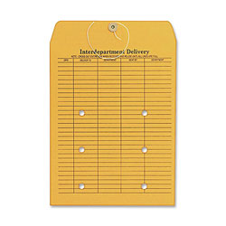 "Columbian Envelope String/Button Envelopes, 32 lb, 2 Sided,10""x13"", Kraft"