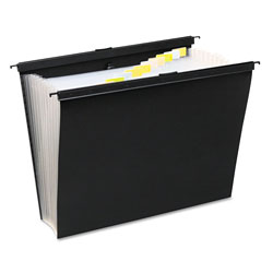 Wilson Jones Slidebar File with Expanding 13 Pockets, Poly, Letter, Black
