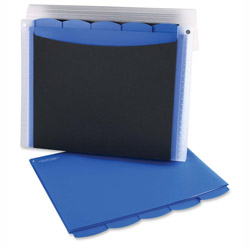 Wilson Jones Professional Filer with 5 Blue Poly Folders, Bungee Cord, Letter Size, Black