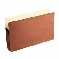 "Wilson Jones Recycled File Pocket, 5 1/4"" Expansion, 9 1/2""x14 3/4"", Red"