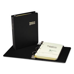"Wilson Jones Vinyl 3 Ring Looseleaf Phone/Address Book, 1"", 5 1/2 x 8 1/2, Black"