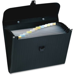 Wilson Jones Briefcase Style Poly Expanding File, 13 Pocket/Insertable Tabs, 12 x 10, Black