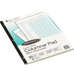 "Wilson Jones Columnar Pad, 5 Columns, 50 Sheets, 11""x8 1/2"", Green"