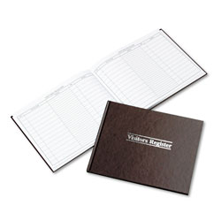Wilson Jones Visitor Register Book, 112 White Pages, 8 1/2 x 11 1/2, Red Cover