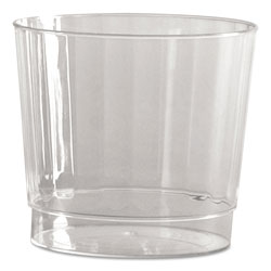 WNA Comet Classic Crystal Plastic Rocks Tumblers, 9 oz., Clear, Fluted, Squat, 12/Pack
