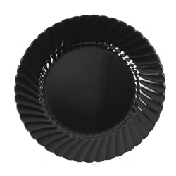 "WNA Comet Disposable 7.5"" Plastic Plates, Black, 10 Packs of 18"