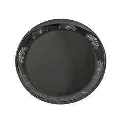 "WNA Comet Desigerware Disposable 9"" Plastic Plates, Black, 10 Packs of 18"