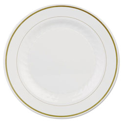 WNA Comet Masterpiece Plastic Plates, 10 1/4in, Ivory w/Gold Accents, Round