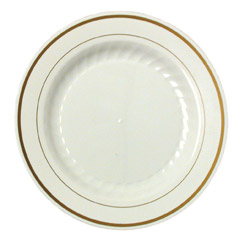 "WNA Comet Masterpiece Disposable 7.5"" Plastic Plates, White, 10 Packs of 10"