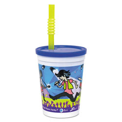 WNA Comet Plastic Kids' Cups W/ Lids And Whistle Straws, 12 Oz., Rock Star Design, 250/ct