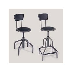 Safco Diesel Industrial Stool with Back, Low Base, Black Leather Seat & Back Pad