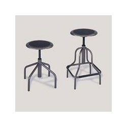 Safco Diesel Backless Industrial Stool, Low Base, Black Leather Seat