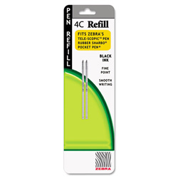 Zebra Pen 4C Refills for Pocket Pen™ Pens, Fine Point, Black, 2/Pack