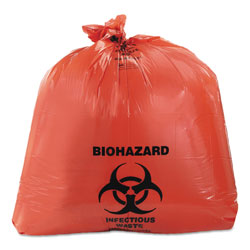 Heritage Bag Healthcare Biohazard Printed Can Liners, 45 gal, 3 mil, 40 in x 46 in, Red, 75/Carton