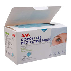 AAB Personal Protective Disposable Breathable Face Mask, 3-Ply, Blue, 50 per Box, 6 Box/Case, 300 Total