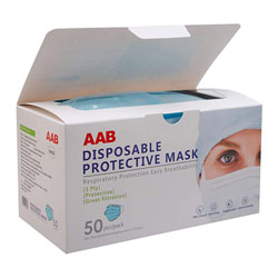 AAB Personal Protective Disposable Breathable Face Mask, 3-Ply, Blue, 50 per Box, 40 Box/Case, 2000 Total