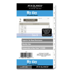 At-A-Glance 1-Page-Per-Day Planner Refills, 6.75 x 3.75, White, 2022