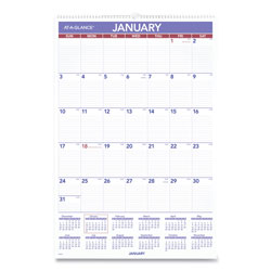 At-A-Glance Monthly Wall Calendar with Ruled Daily Blocks, 20 x 30, White, 2022