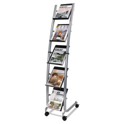 ALBA Mobile Literature Display, 13.38w x 20.13d x 65.38h, Silver Gray/Black