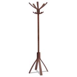 ALBA Café Wood Coat Stand, Ten Peg/Five Hook, 21.67w x 21.67d x 69.33h, Espresso Brown