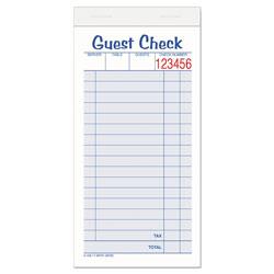 Adam Guest Check Unit Set, Carbonless Duplicate, 6 7/8 x 3 3/8, 50 Forms, 10/Pack