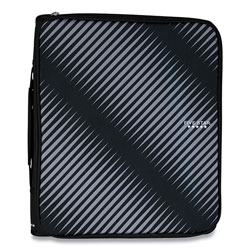 Mead Zipper Binder, 3 Rings, 2 in Capacity, 11 x 8.5, Black/Gray Zebra Print Design