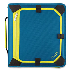 Mead Zipper Binder, 3 Rings, 2 in Capacity, 11 x 8.5, Teal/Yellow Accents