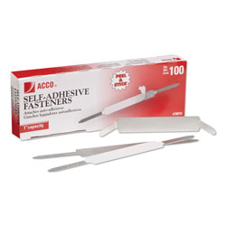 Acco Self-Adhesive Paper Fasteners, 1 in Capacity, 2.75 in Center to Center, Silver, 100/Box