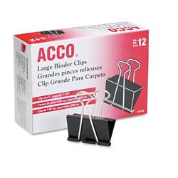 Acco Binder Clips, Large, Black/Silver, Dozen