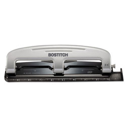 Stanley Bostitch EZ Squeeze Three-Hole Punch, 12-Sheet Capacity, Black/Silver