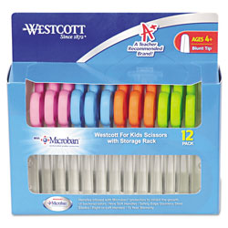 Westcott® Kids' Scissors with Antimicrobial Protection, Rounded Tip, 5 in Long, 2 in Cut Length, Assorted Straight Handles, 12/Pack