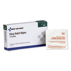 Physicians Care First Aid Sting Relief Pads, 10/Box