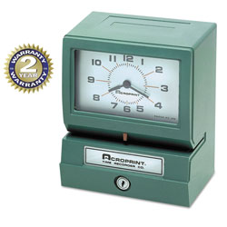 Acroprint Time Recorder Model 150 Analog Automatic Print Time Clock with Month/Date/0-23 Hours/Minutes