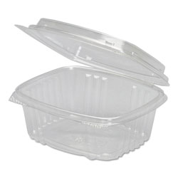 Genpak 1 Compartment Plastic Hinged Container, 12 OZ, Clear