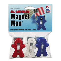 Adam All American Magnet Man, 0.25 in, Assorted Colors, 3/Pack