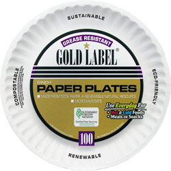 AJM Packaging Gold Label Paper Plates, 9 in, 100/PK, White