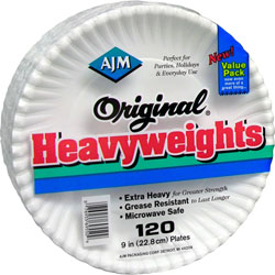 AJM Packaging Heavy-weight Paper Plates, 9 in, 120/PK, White
