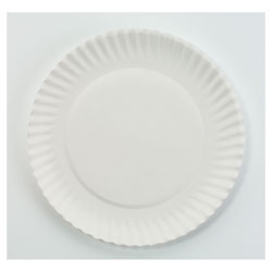 AJM Packaging White Paper Plates, 6 in dia, 100/Pack, 10 Packs/Carton