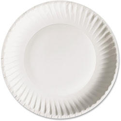 AJM Packaging Disposable 9 in Paper Plates, White, Case of 1,200