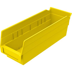 "Akro-Mills Shelf Bin, 4 1/8""Wx11 5/8""Dx4""H, Yellow"