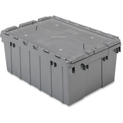 Akro-Mills Attached Lid Container, 8-1/2 Gal, Gray